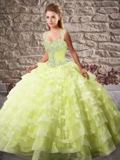 Straps Sleeveless Court Train Lace Up Ball Gown Prom Dress Yellow Green Organza
