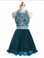 Traditional Mini Length Lace Up Prom Evening Gown Teal for Prom and Party with Beading