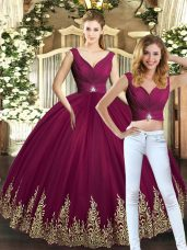 Suitable Burgundy Two Pieces Tulle V-neck Sleeveless Beading and Appliques Floor Length Backless Sweet 16 Dresses