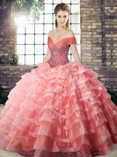 Watermelon Red Sleeveless Brush Train Beading and Ruffled Layers 15th Birthday Dress