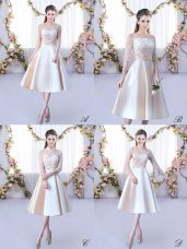 Sleeveless Lace Up Tea Length Lace and Belt Wedding Guest Dresses
