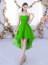 Fantastic Green A-line Tulle Sweetheart Sleeveless Lace High Low Lace Up Dama Dress
