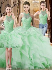 Apple Green Sleeveless Organza Brush Train Lace Up Quinceanera Gowns for Sweet 16 and Quinceanera