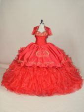 Nice Red Vestidos de Quinceanera Satin and Organza Brush Train Sleeveless Embroidery and Ruffles