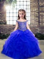 Royal Blue Sleeveless Beading and Ruffles Floor Length Party Dresses
