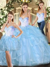 Floor Length Ball Gowns Sleeveless Blue Sweet 16 Quinceanera Dress Lace Up
