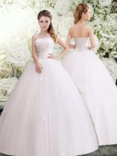 White Sleeveless Tulle Lace Up Bridal Gown for Wedding Party