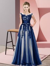 Ideal Navy Blue Tulle Zipper Wedding Party Dress Sleeveless Floor Length Beading and Lace