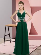 Glorious Dark Green Backless Prom Evening Gown Beading Sleeveless Floor Length