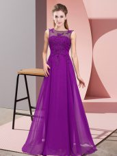 Purple Chiffon Zipper Scoop Sleeveless Floor Length Bridesmaid Gown Beading and Appliques
