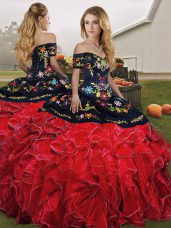 Deluxe Organza Off The Shoulder Sleeveless Lace Up Embroidery and Ruffles Vestidos de Quinceanera in Red And Black