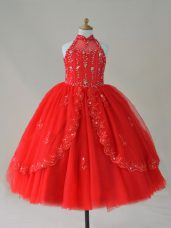 Nice Red Tulle Lace Up High-neck Sleeveless Floor Length Casual Dresses Beading and Appliques