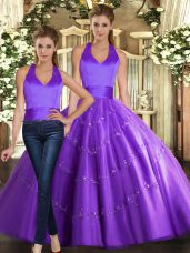 Purple Tulle Lace Up Quinceanera Gowns Sleeveless Floor Length Beading