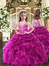 New Style Straps Sleeveless Lace Up Girls Pageant Dresses Fuchsia Organza