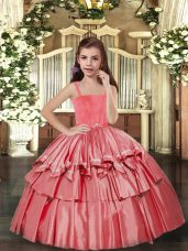 New Arrival Coral Red Sleeveless Taffeta Lace Up Custom Made Pageant Dress for Party and Sweet 16 and Wedding Party