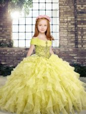 Organza Straps Sleeveless Lace Up Beading and Ruffles Kids Pageant Dress in Yellow
