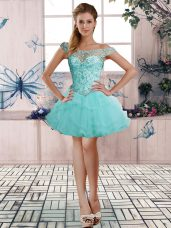 Affordable A-line Cocktail Dresses Aqua Blue Off The Shoulder Tulle Sleeveless Mini Length Lace Up