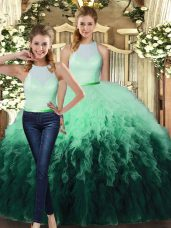 Multi-color Vestidos de Quinceanera Military Ball and Sweet 16 and Quinceanera with Ruffles High-neck Sleeveless Backless