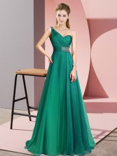 Designer Chiffon Sleeveless Prom Party Dress Brush Train and Beading