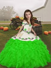Sleeveless Floor Length Embroidery and Ruffles Lace Up Little Girl Pageant Gowns with Green
