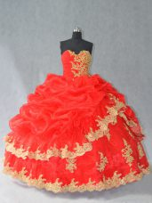 Floor Length Red Ball Gown Prom Dress Organza Sleeveless Lace and Appliques and Pick Ups