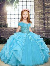 Perfect Aqua Blue Lace Up Party Dress Beading and Ruffles Sleeveless Floor Length
