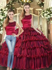 Wine Red Scoop Neckline Ruffled Layers Ball Gown Prom Dress Sleeveless Lace Up