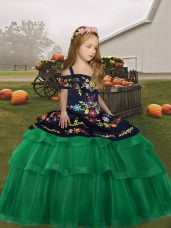 Straps Sleeveless Lace Up Party Dresses Green Tulle