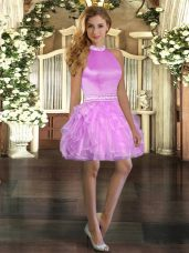 Lilac Sleeveless Organza Backless Club Wear for Prom and Party