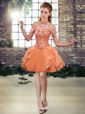 Halter Top Sleeveless Prom Dress High Low Beading and Ruffles Orange Tulle