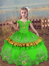 Stunning Floor Length Kids Formal Wear Satin Sleeveless Beading and Embroidery
