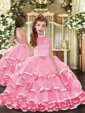 Organza Sleeveless Floor Length Little Girl Pageant Gowns and Beading and Ruffled Layers