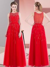 Floor Length Red Prom Gown Scoop Sleeveless Side Zipper