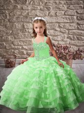Brush Train Ball Gowns Kids Formal Wear Straps Organza Sleeveless Lace Up