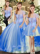 Floor Length Lace Up 15th Birthday Dress Blue for Military Ball and Sweet 16 and Quinceanera with Beading and Ruffles