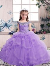 Sleeveless Floor Length Beading and Ruffles Lace Up Party Dress for Toddlers with Lavender