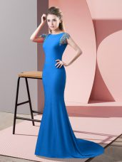 Elastic Woven Satin High-neck Short Sleeves Brush Train Backless Beading Prom Party Dress in Blue