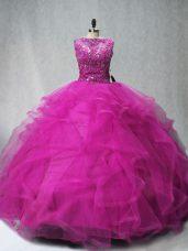Cheap Beading and Ruffles Sweet 16 Quinceanera Dress Fuchsia Lace Up Sleeveless Brush Train
