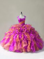 Popular Zipper Quinceanera Dresses Multi-color for Sweet 16 and Quinceanera with Beading and Ruffles