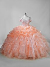 Orange Straps Neckline Beading and Ruffles and Pick Ups 15 Quinceanera Dress Sleeveless Lace Up