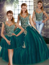 Sweet Beading and Appliques Quinceanera Gowns Peacock Green Lace Up Sleeveless Floor Length