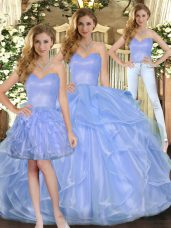 Floor Length Lace Up 15th Birthday Dress Lavender for Military Ball and Sweet 16 and Quinceanera with Ruffles