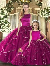 Low Price Fuchsia Ball Gowns Tulle Scoop Sleeveless Ruffles Floor Length Lace Up Quinceanera Gowns