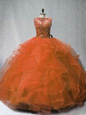 Admirable Rust Red Ball Gown Prom Dress Sleeveless Brush Train Lace Up