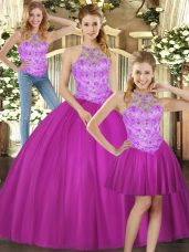 Fuchsia Lace Up Quinceanera Gowns Beading Sleeveless Floor Length