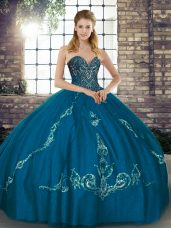 Adorable Sleeveless Tulle Floor Length Lace Up Quinceanera Gowns in Blue with Beading and Embroidery