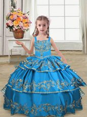 Customized Blue Sleeveless Satin Lace Up Kids Formal Wear for Wedding Party