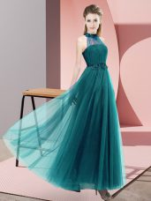 Sleeveless Floor Length Beading and Appliques Lace Up Bridesmaids Dress with Teal