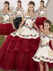 Off The Shoulder Sleeveless 15 Quinceanera Dress Brush Train Embroidery and Ruffled Layers Wine Red Tulle