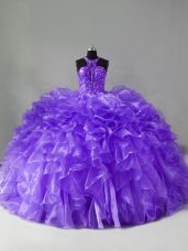 Beading and Ruffles Sweet 16 Quinceanera Dress Lavender Zipper Sleeveless Brush Train